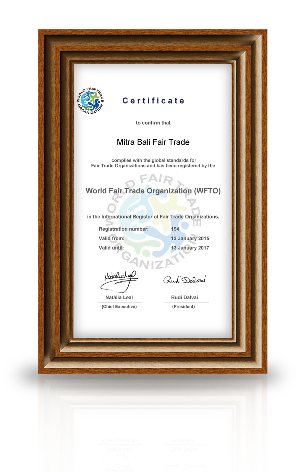 certificate with frame